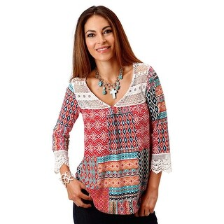 Roper Western Shirt Womens L/S Halter Red 03-038-0514-0532 RE