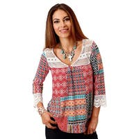 Roper Western Shirt Womens L/S Halter Red