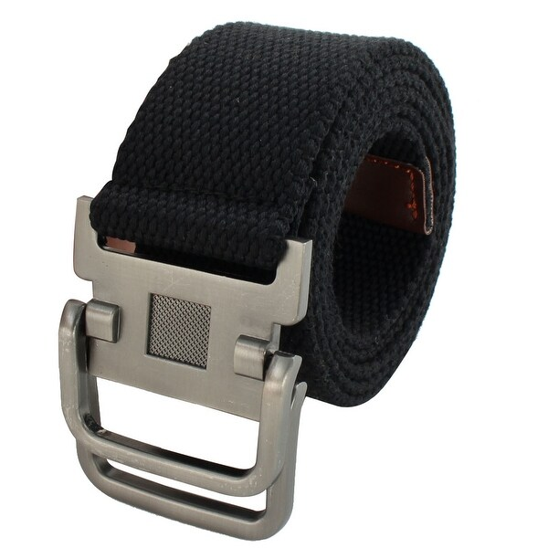 Men Sports Casual Nylon Adjustable Canvas Web Waist Belt Black