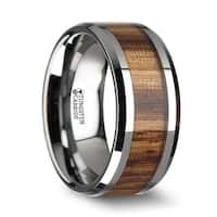 PALMALETTO Tungsten Carbide Ring with Beveled Edges and Real Zebra Wood Inlay - 4mm & 10mm