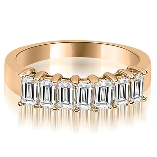 1.75 cttw. 14K Rose Gold Emerald Diamond Classic 7-Stone Prong Wedding Band