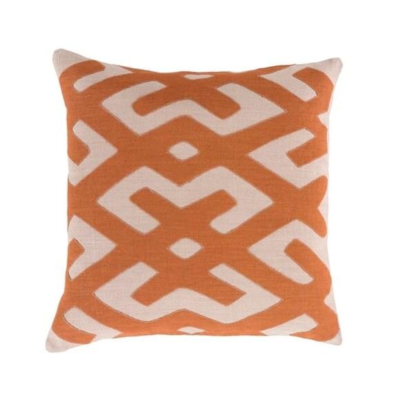"22"" Tribal Rhythm Carnelian Orange and Cream Woven Decorative Throw Pillow"