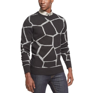 Sean John Giraffe Jacquard Sweater X-Large Black and Gray Crewneck - XL