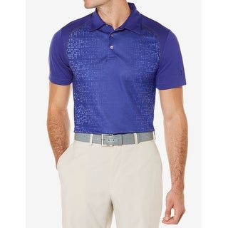 PGA Tour NEW Blue Mens Size XL Ventilated Micro Print Shirts & Tops