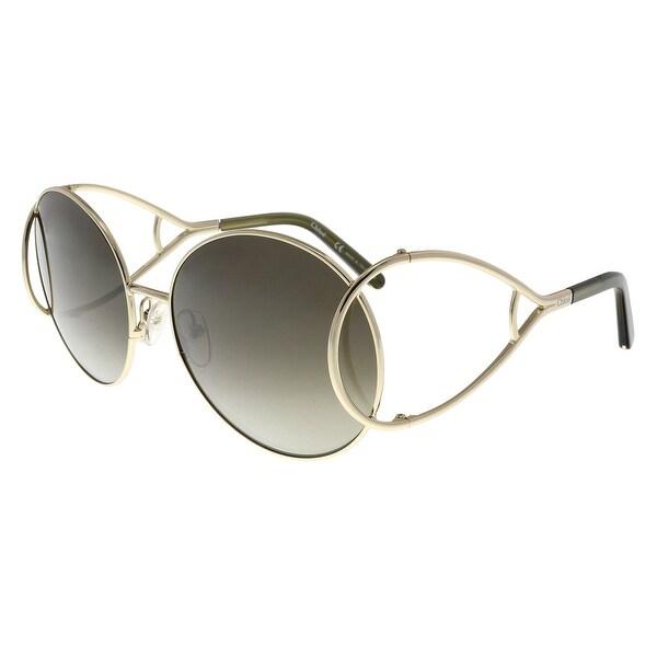 15d91b25d51 Shop Chloe CE124 S 750 Gold Round Sunglasses - 60-18-135 - Free ...