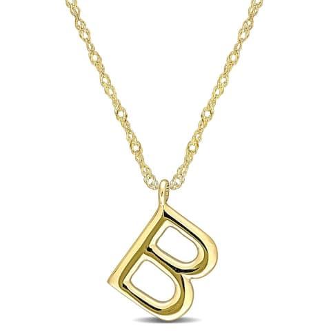 Miadora 14k Yellow Gold B Initial Necklace