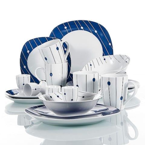 VEWEET 'Hannah' Polka Dot Patterns Porcelain Dinnerware Set