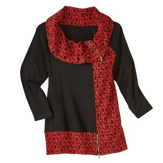 Women's Tunic Top - Cowlneck Red Geometrical Blouse With Zipper Accents