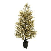 "44"" Potted Gold & Black Glittered Berry Christmas Tree"