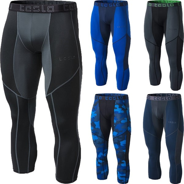 b87901d461d69 Shop TSLA Tesla MUC78 Cool Dry Mesh Baselayer 3/4-Length Compression Pants  - Free Shipping On Orders Over $45 - Overstock - 25634652