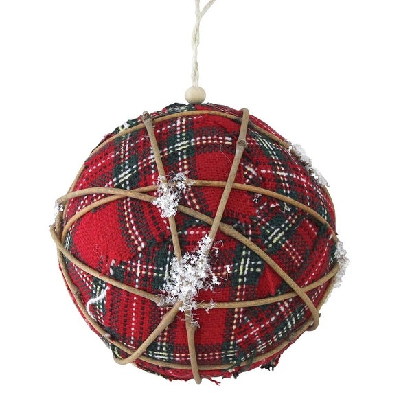 "4"" Plaid and Twine Ball Christmas Ornament"