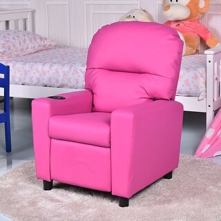 Gymax Kids Armchair Recliner Children's Furniture Sofa Seat Couch Chair w/Cup Holder