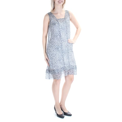 b49ecaca0ce THEORY Womens Blue Sheer Geometric Sleeveless Square Neck Above The Knee Shift  Dress Size: 4