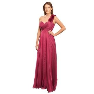 Teri Jon Decadent Rich Silk Chiffon One Shoulder Eve Gown Dress - 12