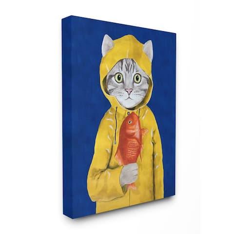 Porch & Den 'Fisherman Feline Yellow Coat Cat' Canvas Wall Art - Multi-Color