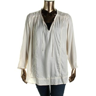 Lucky Brand Womens Plus Woven Perforated Peasant Top - 3X