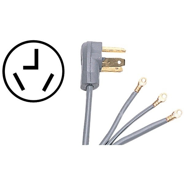 Certified Appliance 90-1028 3-Wire Dryer Cord, 30 Amps (10Ft, Closed Eyelet)