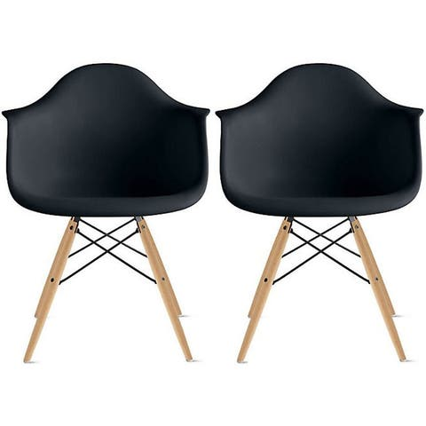 Set of 2 Plastic Accent Modern Designer Dining Chair With Arms Molded Shell Desk Natural Wooden Legs Kitchen Patio