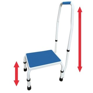 AdjustaStep (tm) 2-in-1 Deluxe Step Stool / Footstool with Handle / Handrail Height Adjustable