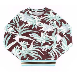 Valentino NEW Blue Mens Size 2XL Tropical Print Crewneck Sweater