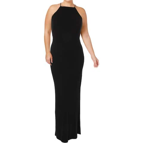 Lauren Ralph Lauren Womens Evening Dress Cut Out Back Side Slit