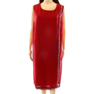 SLNY NEW Red Women's Size 20 Embellished Trim Overlay Sheath Dress
