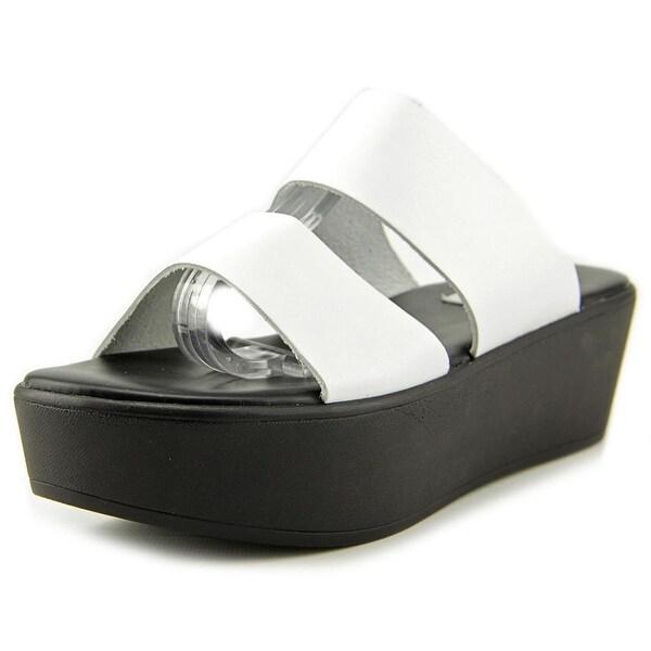 Steve Madden Flyer Women Open Toe Leather White Wedge Sandal