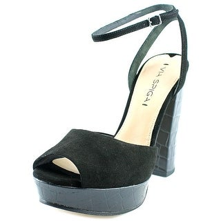 Via Spiga Varsha Women Open Toe Suede Black Platform Sandal