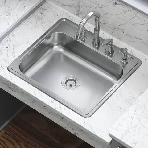 ADAT2318 20 Gauge Single Bowl Stainless Steel Kitchen Sink, Sink Only
