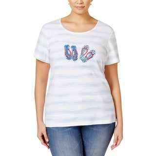 Karen Scott Womens Plus Casual Top Embellished Striped