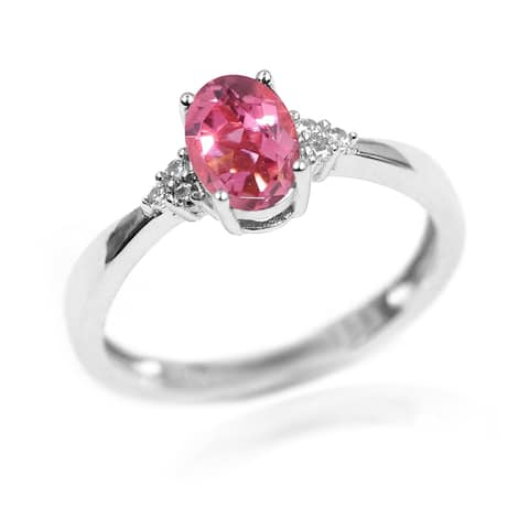 925 Sterling Silver Pink Tourmaline,White Natural Zircon Ring