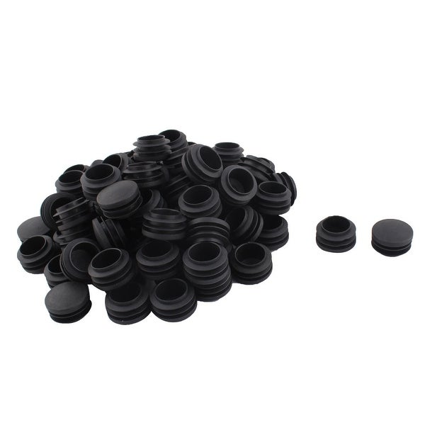 Furniture Table Chair Plastic Round Tube Insert Pipe Cover Black 35mm Dia 80pcs
