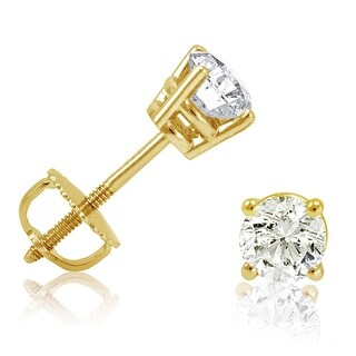 Amanda Rose Collection 1/2ct tw Diamond Earrings in 14K Yellow Gold with Screw Backs