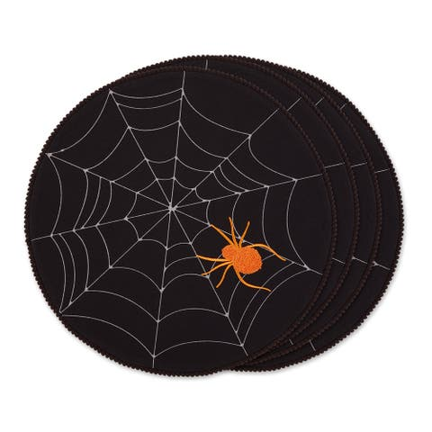 DII Spooky Spiderweb Embellished Round Placemat (Set of 4)