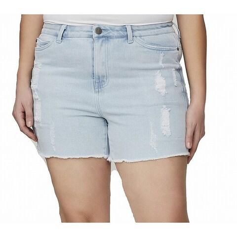 Junarose Light Womens Plus Distressed Denim Shorts