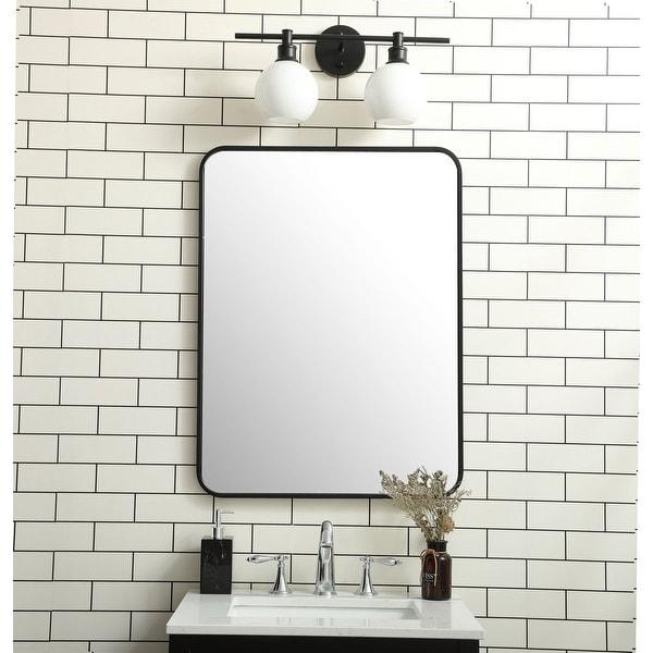 Ezra Soft Corner Metal Rectangular Mirror. Opens flyout.