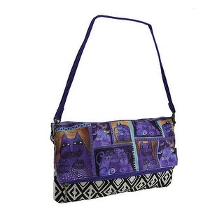 Laurel Burch Indigo Cats Flap Clutch Purse w/Detachable Strap