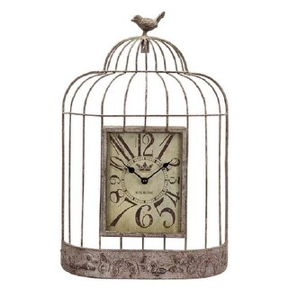 "20"" New Romance Metal Birdcage Wall Clock with Butterfly Trim and Bird"