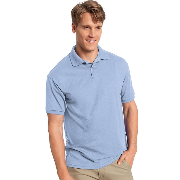 fc155306aad4 Shop Hanes Men's Cotton-Blend EcoSmart® Jersey Polo - Size - XL - Color - Light  Blue - Free Shipping On Orders Over $45 - Overstock - 13923035