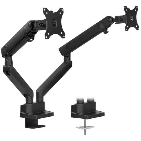 "Mount-It! Dual Monitor Arm Desk Mount for Two Computer Displays Up to 32"" In. - Full Motion, Height Adjustable w/Mechanical Sprg"