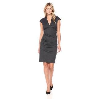 Nicole Miller Artelier Hadley Ponte Cap Sleeve V-Neck Cocktail Day Dress - m