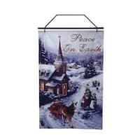 """26"""" Lighted Winter Church Scene Christmas Banner - BLue"""