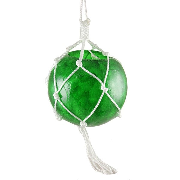 """11.5"""" Lighted Roped Green Ball Outdoor Christmas Decoration - Clear Lights - WHITE"""