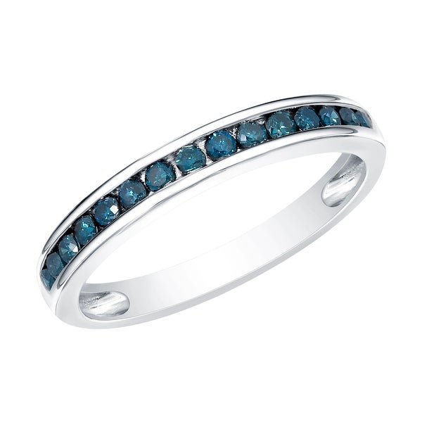 Prism Jewel 1.90MM 0.51CT Channel Set Round Cut Blue Diamond Anniversary Ring