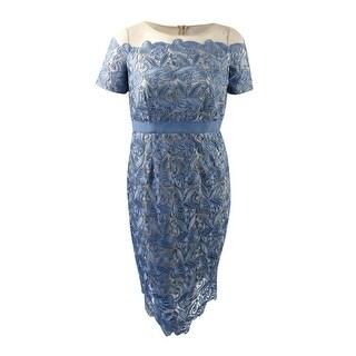 JAX Women's Illusion Lace Sheath Dress (16, Dusty Blue) - Dusty Blue - 16