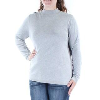 Womens Beige Long Sleeve Jewel Neck Casual Top Size S