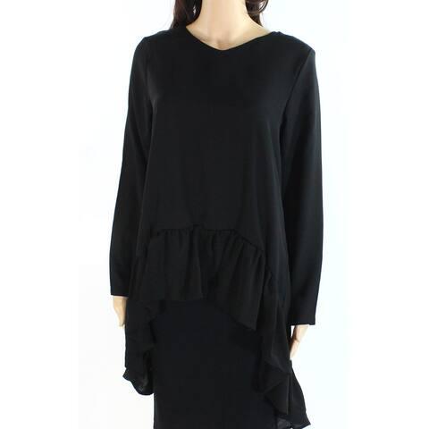 Verona Womens Blouse Black Size Small S Ruffled Long Sleeve V-Neck