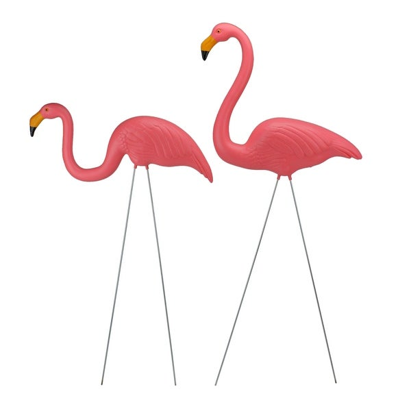 "Set of 2 Pink Tropical Flamingo Outdoor Lawn Stakes 30"" - N/A"