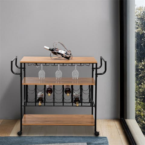 Kitchen Storage Cart 3 Shelves with Wine Rack and Glass Holder
