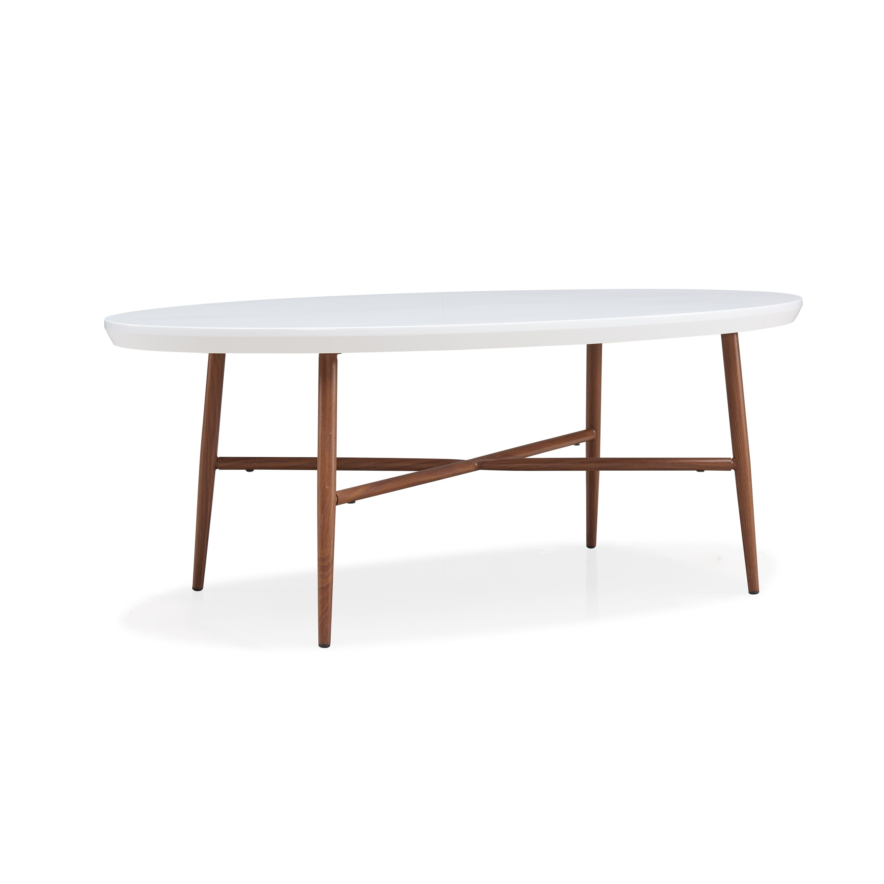 Handy Living Miami White Oval Coffee Table With Brown Metal Legs On Sale Overstock 17158375